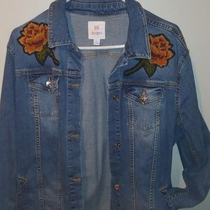 LuLaRoe Jaxon Jean Jacket sz L Rose Embroidery